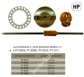 INTERTOOL  Набор форсунок 1.3mm (к пистолетам РТ -0204, РТ -0205